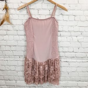 Free People Intimately Tiered Pink Ruffle Slip Med